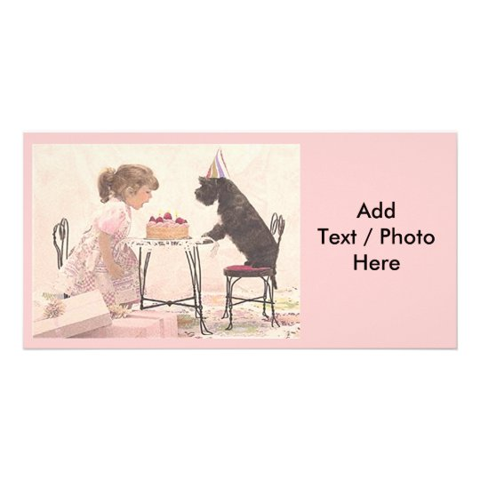 Little Girl & Dog Celelbration Customised Photo Card