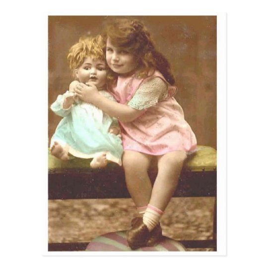 little girl doll vintage postcard