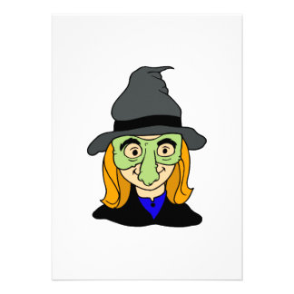 little girl dressed as witch for haloween custom invites