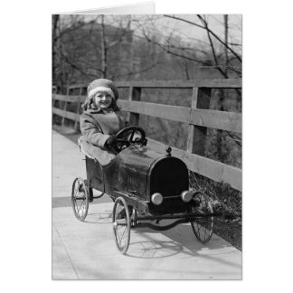 Little Girl Driving Pedal Car 1922 Greeting Card