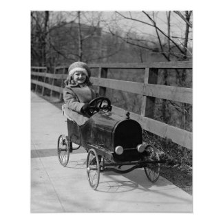 Little Girl Driving Pedal Car 1922 Posters