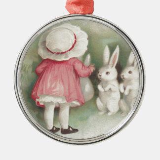 Little Girl Easter Bunny Rabbit Christmas Ornament