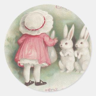 Little Girl Easter Bunny Rabbit Round Sticker