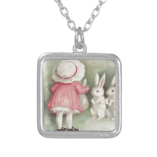 Little Girl Easter Bunny Rabbit Silver Plated Necklace