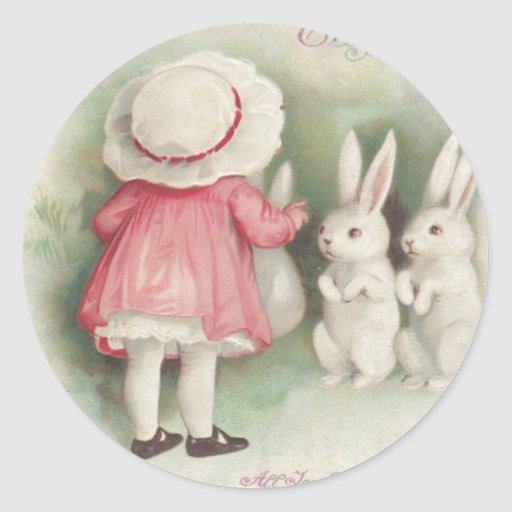 Little Girl Easter Bunny Rabbit Round Stickers