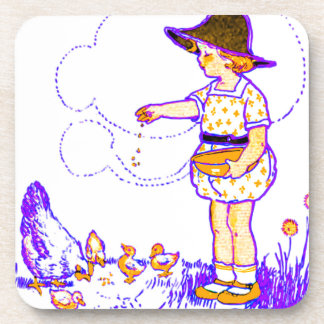 Little girl feeding her baby chicks drink coasters