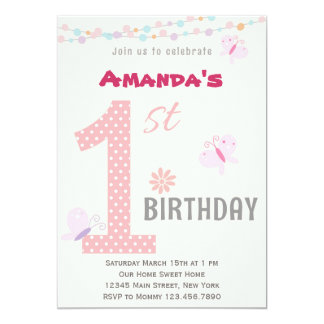 """Little Girl First Birthday Party Invitation (Pink) 5"""" X 7"""" Invitation Card"""