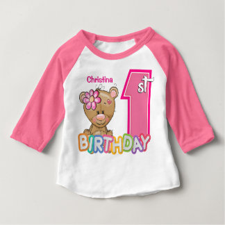 Little Girl First Birthday Teddy Bear Baby T-Shirt