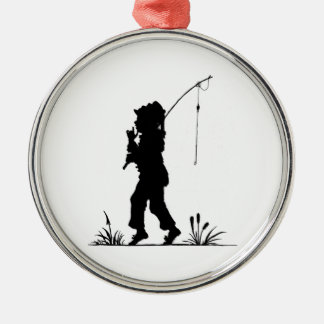 Little Girl Fishing Silhouette Christmas Ornament