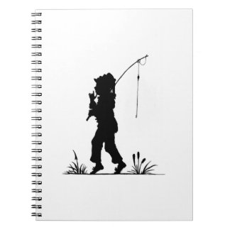 Little Girl Fishing Silhouette Notebook