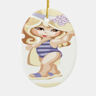 Little girl going to the beach christmas ornament