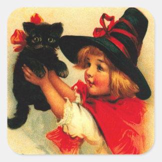 Little Girl & Her Black Cat Square Sticker