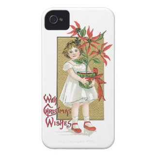 Little Girl Holding Poinsettia Vintage Christmas iPhone 4 Case-Mate Case