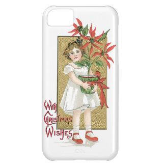 Little Girl Holding Poinsettia Vintage Christmas iPhone 5C Case