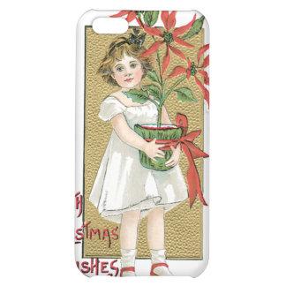 Little Girl Holding Poinsettia Vintage Christmas Case For iPhone 5C