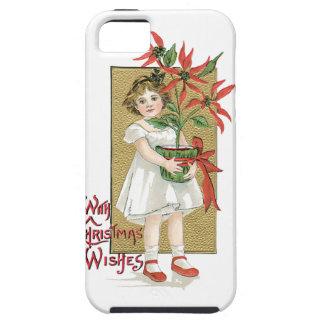 Little Girl Holding Poinsettia Vintage Christmas Tough iPhone 5 Case