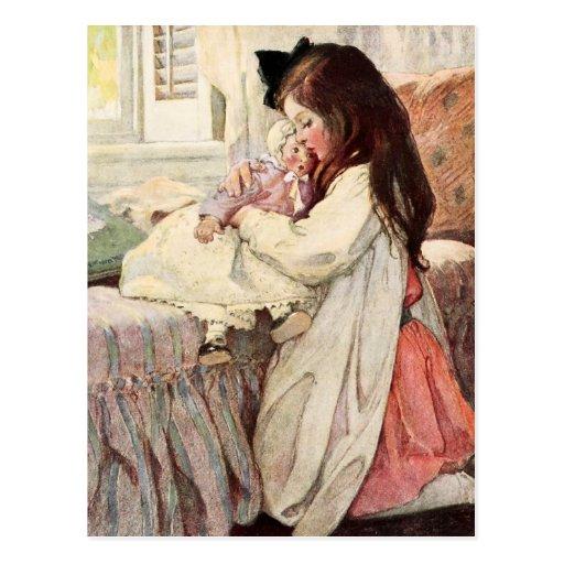 Little Girl Hugging Her Doll Postcards