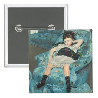 Little Girl in a Blue Armchair, 1878 (oi 15 Cm Square Badge
