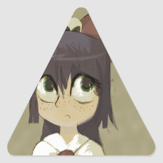 Little Girl in a Bow Triangle Sticker