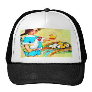 Little girl in a floppy hat with hatching chicks,