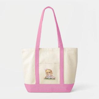Little Girl in a Purple Dress Tote Bags