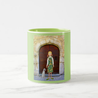 Little girl in insect dress with dog Two-Tone coffee mug