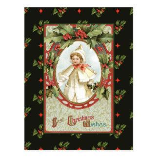 Little Girl in White Christmas Postcard