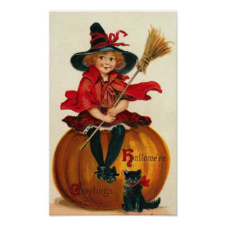 Little Girl in Witch Costume Poster