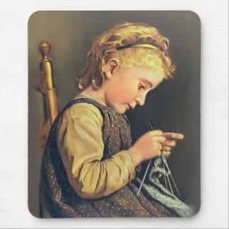 Little Girl Knitting Mouse Mat