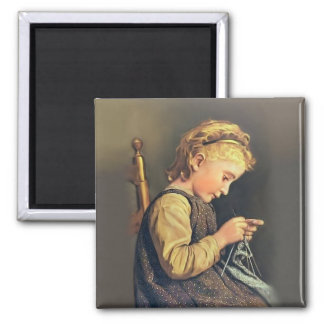 Little Girl Knitting Square Magnet