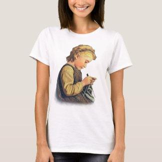 Little Girl Knitting T-Shirt
