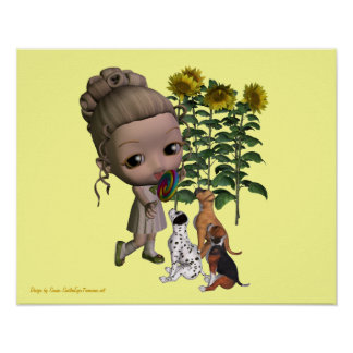 Little Girl Lollipop And Puppies Poster Print