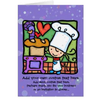 Little Girl loves to bake bread Cards