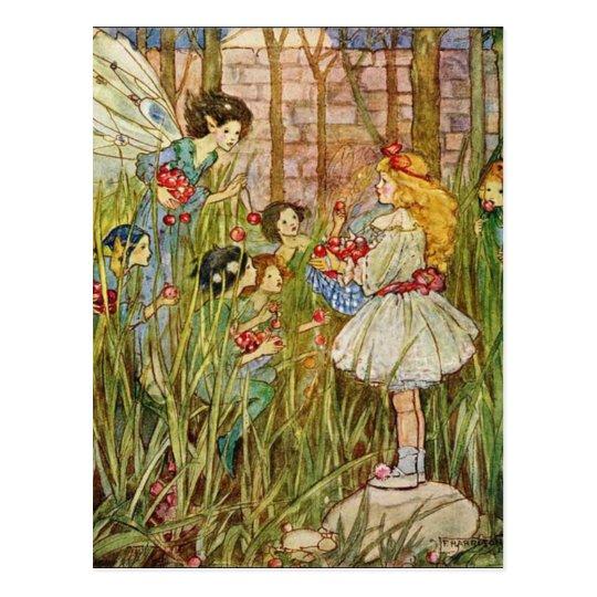 Little Girl Meets Fairies, Postcard