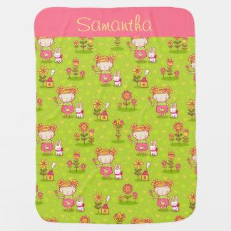 Little Girl n' Bunny Baby Blanket