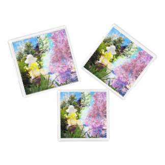 Little Girl Nature Collage Pink Flower Blue Yellow Acrylic Tray