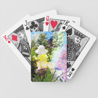 Little Girl Nature Collage Pink Flower Blue Yellow Bicycle Playing Cards