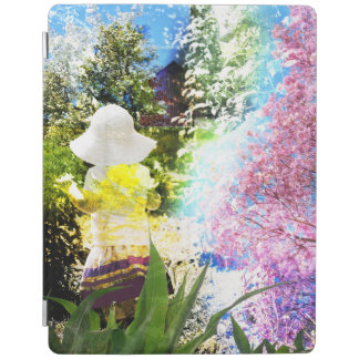 Little Girl Nature Collage Pink Flower Blue Yellow iPad Cover
