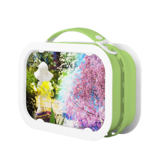 Little Girl Nature Collage Pink Flower Blue Yellow Lunch Box