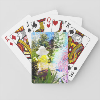 Little Girl Nature Collage Pink Flower Blue Yellow Playing Cards