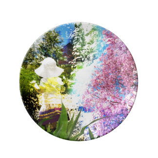 Little Girl Nature Collage Pink Flower Blue Yellow Porcelain Plates