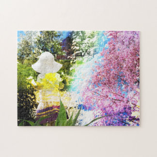 Little Girl Nature Collage Pink Flower Blue Yellow Puzzle