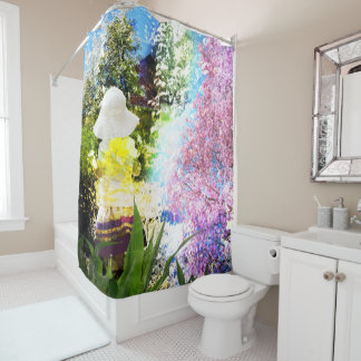 Little Girl Nature Collage Pink Flower Blue Yellow Shower Curtain
