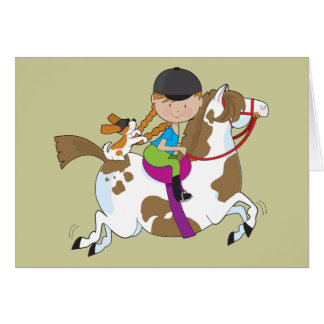 Little Girl On Horse Greeting Card