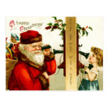 Little Girl on the Phone with Santa Claus Post Cards