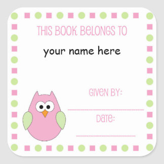 Little girl owl Bookplate label for baby showers Square Sticker