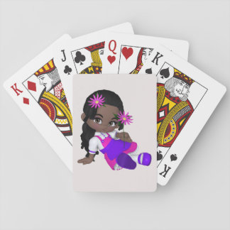 Little girl playing card