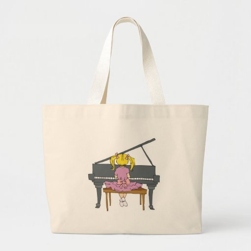 little girl playing piano tote bag