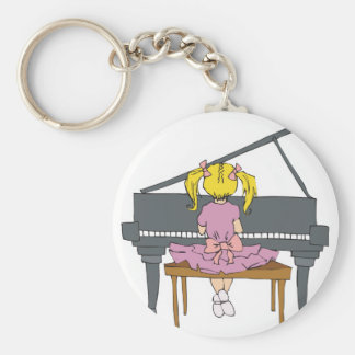 little girl playing piano basic round button key ring