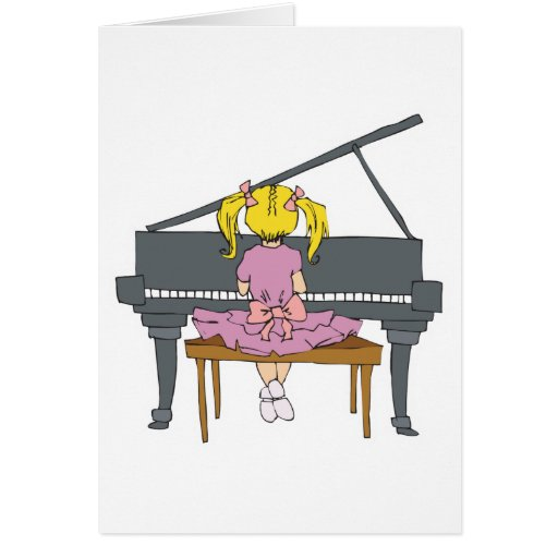 little girl playing piano greeting cards